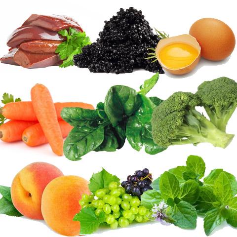 Витамин А Это мощный антиоксидант, который улучшает регенерацию клеток. Содержится в печени, икре осетровых, яичном желтке, моркови, шпинате, брокколи, персиках, винограде и мяте.
