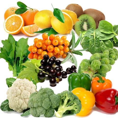 Продукты с высоким содержанием витамина С: апельсины/лимоны, киви, шпинат, щавель, облепиха, чёрная смородина, капуста (брюссельская, цветная, брокколи), болгарский перец.